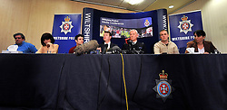 ©London News pictures. 21/03/11. Left to right,  Dad Mick O'Callaghan, Sister Laura O'Callaghan, Brother Liam O'Callaghan, Det Supt Steve Fulcher, Chief Supt Steve Hedley, Boyfirend Kevin reape and Mother Elaine O'Callaghan. A press conference with members of Sian O'Callaghan's family. A massive police hunt was underway in a forest last night as fears grew over the disappearance of a woman who has not been seen for two days. Sian O'Callaghan, 22, was last seen at a nightclub in Swindon. Picture Credit should read Stephen Simpson/LNP