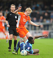 Blackpool's Mark Cullen is fouled by Wycombe Wanderers' Aaron Pierre<br /> <br /> Photographer Kevin Barnes/CameraSport<br /> <br /> The EFL Sky Bet League Two - Wycombe Wanderers v Blackpool - Saturday 11th March 2017 - Adams Park - Wycombe<br /> <br /> World Copyright © 2017 CameraSport. All rights reserved. 43 Linden Ave. Countesthorpe. Leicester. England. LE8 5PG - Tel: +44 (0) 116 277 4147 - admin@camerasport.com - www.camerasport.com