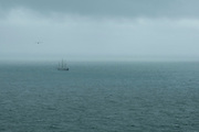 The Pelican of London sailing ship comes through the sea mist in the English Channel on the 15th of May 2021 as it arrives into Folkestone, Kent, United Kingdom. The Pelican of London is a sail training ship that takes groups of people from the UK around the coast to learn tall ship sailing skills. (photo by Andrew Aitchison / In pictures via Getty Images)