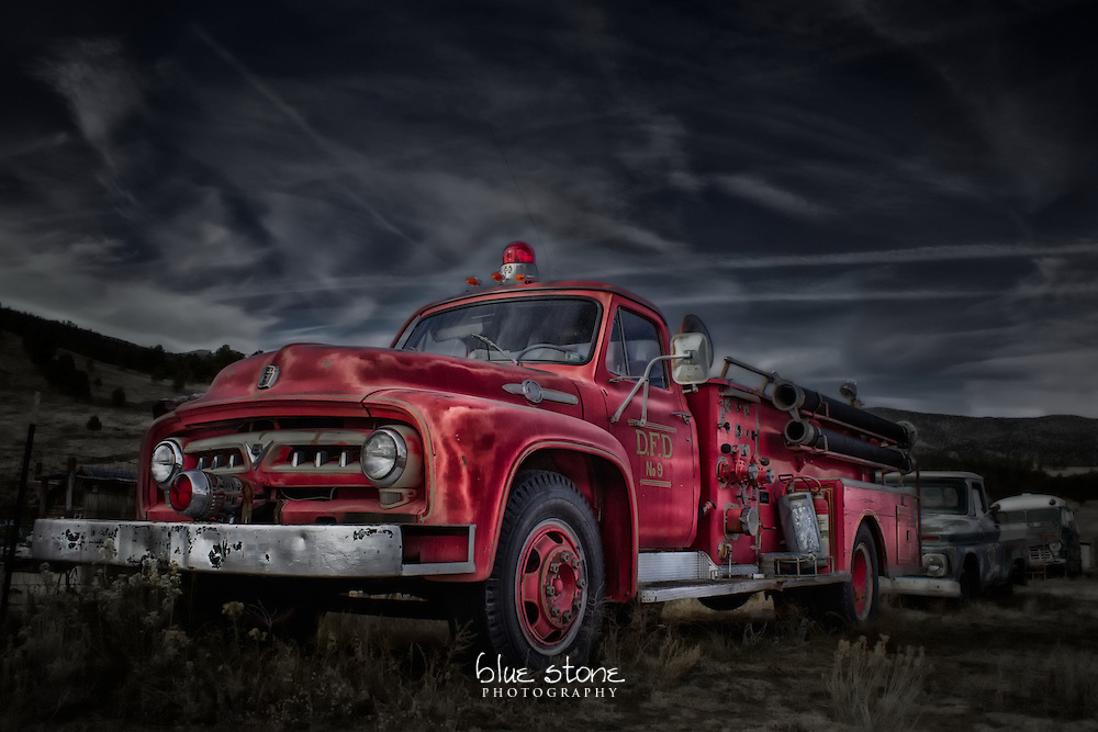 A photograph of a historic vintage red fire truck is processed with a blend of realism and artistic style creating a misleading composition.<br /> <br /> Wall art is available in metal, canvas, float wrap and standout. Art prints are available in lustre, glossy, matte and metallic finishes.