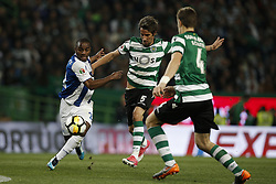 April 18, 2018 - Lisbon, Portugal - Porto's defender Ricardo Pereira (L) vies for the ball with Sporting's defender Fabio Coentrao (C) and Sporting's defender Sebastian Coates (R)  during Portuguese Cup 2017/18 match between Sporting CP vs FC Porto, in Lisbon, on April 18, 2018. (Credit Image: © Carlos Palma/NurPhoto via ZUMA Press)