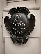 The famous Sacher hotel's plaque, Vienna, Austria<br />