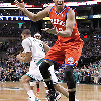 14 May 2012: Philadelphia Sixers shooting guard Evan Turner (12) reacts after a turnover during the Philadelphia Sixers 82-81 victory over the Boston Celtics, in Game 2 of the Eastern Conference semifinals playoff series, at the TD Banknorth Garden, Boston, Massachusetts, USA.