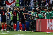 Croatia players celebrate after the Mario Mandzukic's goal during the 2018 FIFA World Cup Russia, semi-final football match between Croatia and England on July 11, 2018 at Luzhniki Stadium in Moscow, Russia - Photo Thiago Bernardes / FramePhoto / ProSportsImages / DPPI