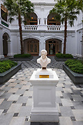Marble bust of Sir Thomas Stamford Raffles (founder of Singapore) at the Raffles Hotel, Singapore, Republic of Singapore