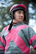 2  April, 2011:  Jockey Gus Dahl waits in the paddock before the third race of the day, the C.P. & Edith Wills DuBose Cup Timber race. Dahl would not finish the race after being unseated.