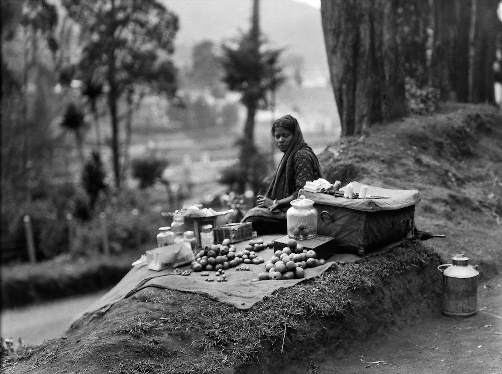 Girl Selling Apples at the Roadside, Ooty, India, 1929