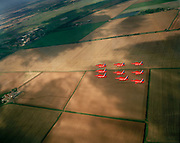 Seen from another aircraft, the Diamond Nine formation of the 'Red Arrows', Britain's Royal Air Force aerobatic team is seen over freshly-ploughed English fields and hedgerows (the result of the old agricultural 'enclosure' system of land division) the nine aircraft fly in a tight formation approximately 8 feet (2.5m) apart from each other. This is an In-Season Practice (ISP) training flight near their base at RAF Scampton. In front of a local crowd at the airfield they practice a 25-minute series of display manoeuvres that are loved by thousands at summer air shows. Their objective is to appear perfectly spaced from a ground perspective are seen below. After some time off, spare days like this are used to hone their manual aerobatic and piloting skills before re-joining the air show circuit. Since 1965 they've flown over 4,000 shows in 52 countries.