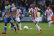 Stoke City forward Saido Berahino (19) during the The FA Cup 3rd round match between Shrewsbury Town and Stoke City at Greenhous Meadow, Shrewsbury, England on 5 January 2019.