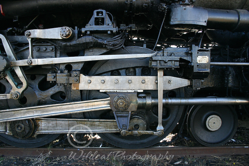 Locomotive wheels on The Challenger which is based in Wyoming and owned by Union Pacific.