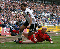 Photo: Steve Bond.<br />Derby County v Coventry City. Coca Cola Championship. 09/04/2007. Giles Barnes is tackled