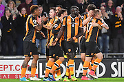 Hull City celebrate goal scored by Hull City striker Abel Hernandez (9) to go 3-1 during the Premier League match between Hull City and Middlesbrough at the KCOM Stadium, Kingston upon Hull, England on 5 April 2017. Photo by Ian Lyall.