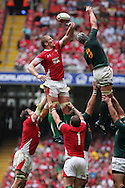 Bradley Davies of Wales (l) attempts to win a lineout ball against Joe Van Niekerk of South Africa (r). Wales v South Africa,    at Millennium Stadium in Cardiff on Sat 5th June 2010. pic by Andrew Orchard,  Andrew Orchard sports photography,
