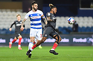 QPR Defender Geoff Cameron(20)(c) and Brentford Forward Ivan Toney(17)  during the EFL Sky Bet Championship match between Queens Park Rangers and Brentford at the Kiyan Prince Foundation Stadium, London, England on 17 February 2021.