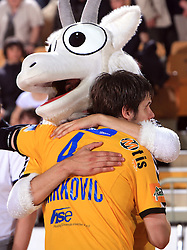 Mascot of Koper and Milan Markovic celebrate at Final match of Slovenian Men Handball Cup between RK Cimos Koper and RK Celje Pivovarna Lasko, on April 19, 2009, in Arena Bonifika, Koper, Slovenia. Cimos Koper won 24:19 and became Slovenian Cup Champion. (Photo by Vid Ponikvar / Sportida)