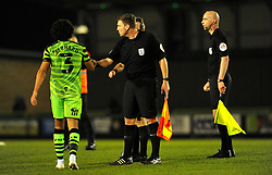 Dominic Bernard of Forest Green Rovers shakes hands with officials at the final whistle - Mandatory by-line: Nizaam Jones/JMP - 27/02/2021 - FOOTBALL - The innocent New Lawn Stadium - Nailsworth, England - Forest Green Rovers v Colchester United - Sky Bet League Two