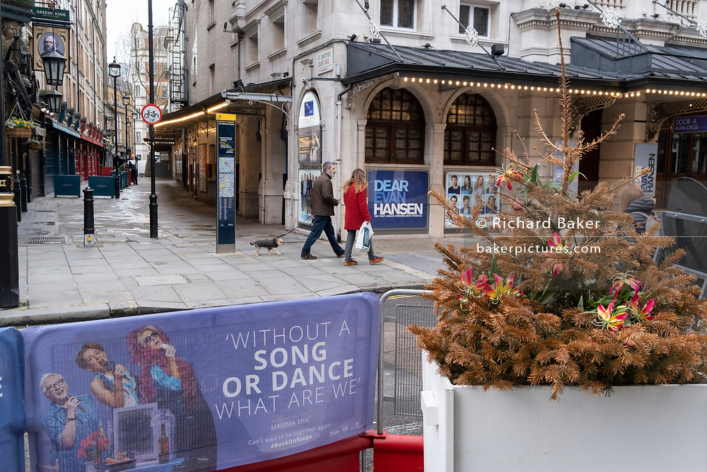 With the threat of job losses and huge revenue losses but inaccordance to the government's Covid social distance restrictions, a dead Christmas tree still remains near the Noel Coward Theatre as entertainment venues stay closed during the third lockdown of the Coronavirus pandemic, on 3rd February 2021, in London, England.
