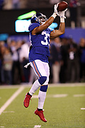 New York Giants free safety Andrew Adams (33) leaps and catches a pass while warming up before the 2017 NFL week 2 regular season football game against the against the Detroit Lions, Monday, Sept. 18, 2017 in East Rutherford, N.J. The Lions won the game 24-10. (©Paul Anthony Spinelli)
