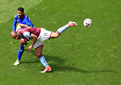 23 April 2017 - EFL Championship Football - Aston Villa v Birmingham City - Gabby Agbonlahor of Aston Villa turtles with David Davis of Birmingham City - Photo: Paul Roberts / Offside