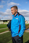 Forest Green Rovers assistant manager, Scott Lindsey being interviewed ahead of the match during the Vanarama National League match between Forest Green Rovers and Aldershot Town at the New Lawn, Forest Green, United Kingdom on 5 November 2016. Photo by Shane Healey.