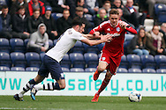 Craig Noone of Cardiff City goes past Greg Cunningham of Preston North End. Skybet football league championship match, Preston North End v Cardiff City at the Deepdale stadium in Preston, Lancashire on Saturday 17th October 2105.<br /> pic by Chris Stading, Andrew Orchard sports photography.