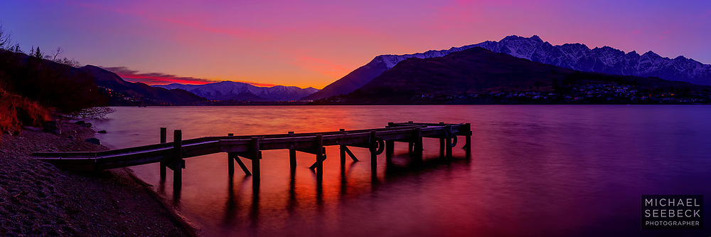 Sunrise light over a jetty on Lake Wakatipu in New Zealand.<br /> <br /> Code: HZOQ0005<br /> <br /> Limited Edition Print