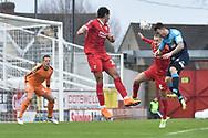 Woking forward Jake Hyde (9)  scores a goal from open play 0-1 during the The FA Cup 2nd round match between Swindon Town and Woking at the County Ground, Swindon, England on 2 December 2018.