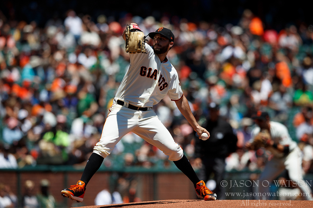 SAN FRANCISCO, CA - JULY 15: Andrew Suarez #59 of the San Francisco Giants pitches against the Oakland Athletics during the first inning at AT&T Park on July 15, 2018 in San Francisco, California. The Oakland Athletics defeated the San Francisco Giants 6-2. (Photo by Jason O. Watson/Getty Images) *** Local Caption *** Andrew Suarez