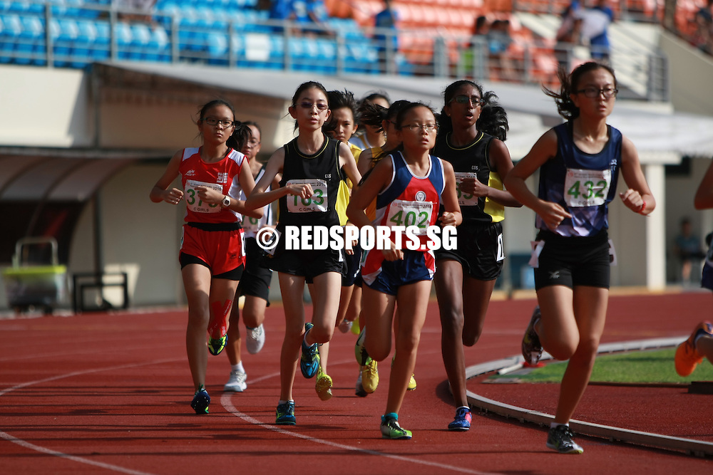Bishan Stadium, Monday, April 25, 2016 — Wu Shu Han of Nanyang Girls' High bagged her second gold at the 57th National Schools Track and Field Championships when she won the C Division Girls' 1500m in a time of 5 minutes 27.83 seconds. <br /> <br /> The electronically-timed record still stands at 4:57.24, set by Hua Yi Secondary School alumna Yvonne Lin. <br /> <br /> Elizabeth Liau and Caitlyn Yeo, both from CHIJ St. Nicholas Girls' School, came in second (05:36.41) and third (05:42.56) respectively.