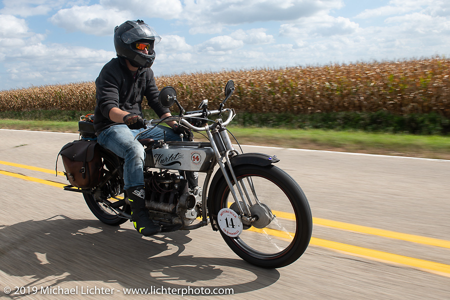 Loring Hill riding his 1916 Henderson 4-cylinder in the Motorcycle Cannonball coast to coast vintage run. Stage 7 (274 miles) from Cedar Rapids to Spirit Lake, IA. Friday September 14, 2018. Photography ©2018 Michael Lichter.
