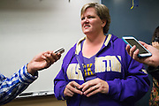 Media interviews Sandy Scrempos about her son, Jason Scrempos, football journey to the University of Washington during the NCAA National Signing Day event at Milpitas High School in Milpitas, California, on February 4, 2015. (Stan Olszewski/SOSKIphoto)