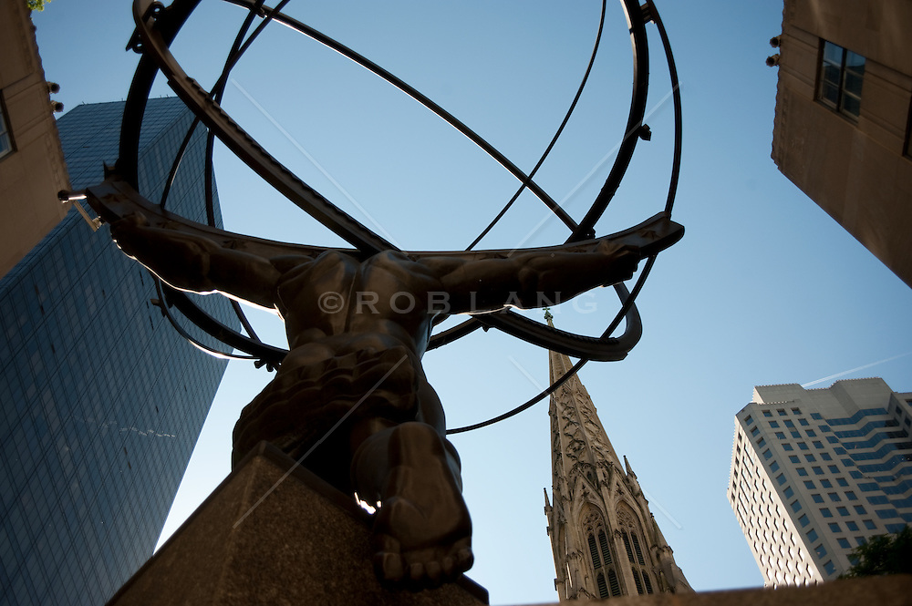 Rear view of Atlas Statue facing St Patrick's Cathedral in New York City