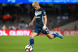 February 23, 2019 - Melbourne, VIC, U.S. - MELBOURNE, VIC - FEBRUARY 23: Melbourne Victory midfielder Keisuke Honda (4) free kicks the ball at round 20 of the Hyundai A-League Soccer between Melbourne City FC and Melbourne Victory on February 23, 2019 at Marvel Stadium, VIC. (Photo by Speed Media/Icon Sportswire) (Credit Image: © Speed Media/Icon SMI via ZUMA Press)
