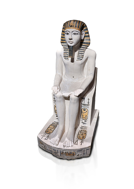 Ancient Egyptian cult statue of Amenhoptep I, limestone, New Kingdom, 19th Dynasty, (1292-1190 BC, Deir el-Medina. Egyptian Museum, Turin. white background<br /> <br /> The cult of Amenhoptep I flourished during the 19th &20th Dynasties. This statue is typical of Theban sculpture of the Ramesside era : large eyes, full cheeks and aquiline nose. the kings skin colour is white rather than the more common red hue. This is typical of other Deir el-Medina statues of the era.  Drovetti collection. Cat 1372. .<br /> <br /> If you prefer to buy from our ALAMY PHOTO LIBRARY  Collection visit : https://www.alamy.com/portfolio/paul-williams-funkystock/ancient-egyptian-art-artefacts.html  . Type -   Turin   - into the LOWER SEARCH WITHIN GALLERY box. Refine search by adding background colour, subject etc<br /> <br /> Visit our ANCIENT WORLD PHOTO COLLECTIONS for more photos to download or buy as wall art prints https://funkystock.photoshelter.com/gallery-collection/Ancient-World-Art-Antiquities-Historic-Sites-Pictures-Images-of/C00006u26yqSkDOM