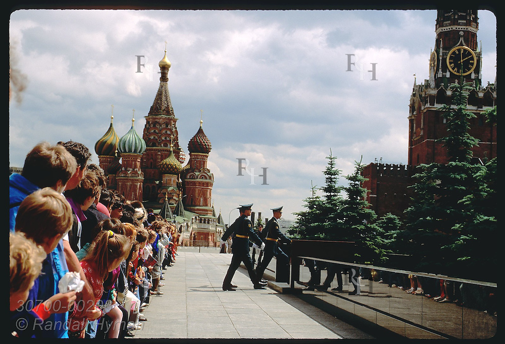 Crowd watches guards march to Saviour Gate near St Basil's Cthdrl after duty @ Lenin's Tomb; Moscw Russia