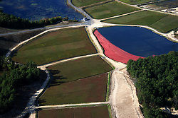 While descending into Taunton Airport, in south-eastern Massachusetts, a cranberry red bog lights up the vista.