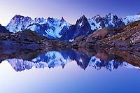 Mountain impression Lac Blanc with Aiguilles de Chamonix - Europe, France, Haute Savoie, Aiguilles Rouges, Chamonix, Lac Blanc - Dawn - September 2008