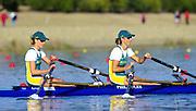 Sydney. AUSTRALIA. 2000 Summer Olympic Regatta, Penrith. NSW.  <br /> <br /> AUS W2X Women's Double Scull  Bow<br /> Marina Hatzakis<br /> Str: Bronwyn Roye <br /> <br /> [Mandatory Credit Peter SPURRIER/ Intersport Images] Sydney International Regatta Centre (SIRC) 2000 Olympic Rowing Regatta00085138.tif