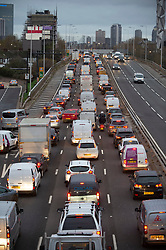 © Licensed to London News Pictures. 16/11/2020.  <br /> Greenwich, UK. Heavy early morning lockdown London traffic on the A102 Blackwall Tunnel Approach road in Greenwich. Photo credit:Grant Falvey/LNP