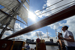 © Licensed to London News Pictures. 30/08/2013. London, UK. Morgenster, a Dutch Brig Type Tall Ship, Length 33.33 meters, at The O2 as part of boat trip for Thames Tall Ship cruises and marking one year until The Tall Ship Regatta, Falmouth to Greenwich in August 2014. Photo credit: Mike King/LNP