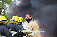 63818-02612 Firefighters at oilfield tank training, Marion Co., IL