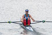 Poznan, POLAND, 21.06.19,  Friday,  ARG LW1X,Milka  KRALJEV, at the start of her heat, FISA World Rowing Cup II, Malta Lake Course, © Peter SPURRIER/Intersport Images, <br /> <br /> 09:42:44
