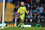 Kasper Schmeichel, the Leicester city goalkeeper looks on.Barclays Premier league match, Aston Villa v Leicester city at Villa Park in Birmingham, The Midlands on Saturday 16th January 2016.<br /> pic by Andrew Orchard, Andrew Orchard sports photography.