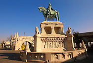 Statue of King Istvan ( Stephan ) - Fisherman's Bastion - Castle District, Budapest, Hungary .<br /> <br /> Visit our HUNGARY HISTORIC PLACES PHOTO COLLECTIONS for more photos to download or buy as wall art prints https://funkystock.photoshelter.com/gallery-collection/Pictures-Images-of-Hungary-Photos-of-Hungarian-Historic-Landmark-Sites/C0000Te8AnPgxjRg