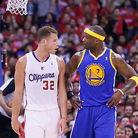21 April 2014: Los Angeles Clippers forward Blake Griffin (32) talks to Golden State Warriors center Jermaine O'Neal (7) during the Los Angeles Clippers 138-98 victory over the Golden State Warriors, during Game Two of the Western Conference Quarterfinals of the NBA Playoffs, at the Staples Center, Los Angeles, California, USA.