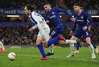 Football - 2018 / 2019 UEFA Europa League - Round of Sixteen, First Leg: Chelsea vs. Dynamo Kiev<br /> <br /> Mykola Shaparenko of Dynamo and Mateo Kovacic with Jorginho of Chelsea, at Stamford Bridge.<br /> <br /> COLORSPORT/ANDREW COWIE