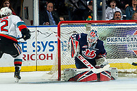 KELOWNA, BC - MARCH 7: Carl Tetachuk #35 of the Lethbridge Hurricanes makes a save on a shot by Dillon Hamaliuk #22 of the Kelowna Rockets during first period at Prospera Place on March 7, 2020 in Kelowna, Canada. (Photo by Marissa Baecker/Shoot the Breeze)