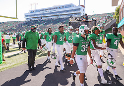 Sep 5, 2020; Huntington, West Virginia, USA; Marshall Thundering Herd players walk off the field after defeating the Eastern Kentucky Colonels at Joan C. Edwards Stadium. Mandatory Credit: Ben Queen-USA TODAY Sports