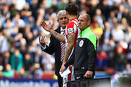 Stoke City Manager Mark Hughes gives instructions to Marko Arnautovic of Stoke City. Barclays Premier League match, Stoke city v West Bromwich Albion at the Britannia stadium in Stoke on Trent, Staffs on Saturday 29th August 2015.<br /> pic by Chris Stading, Andrew Orchard sports photography.