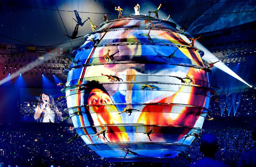 China, Beijing, 08-08-2008.<br /> Olympische Spelen.<br /> Openingsceremonie Olympisch Stadion.<br /> Foto: Klaas Jan van der Weij